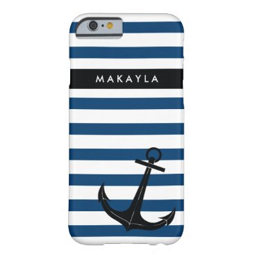 Personalized Navy Chevron with Black Anchor Barely There iPhone 6 Case