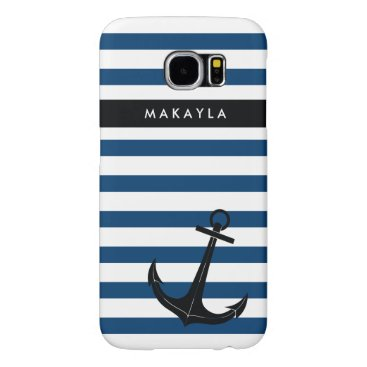 Personalized Navy Chevron with Black Anchor Samsung Galaxy S6 Case