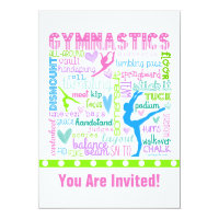 Personalized Pastel Gymnastics Words Typography 5x7 Paper Invitation Card