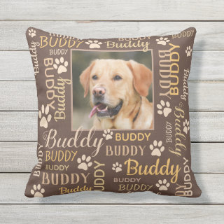 Personalized Photo Names | Brown Dog Throw Pillow