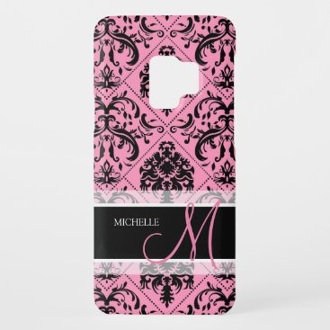 Personalized Pink & Black Vintage Damask pattern Case-Mate Samsung Galaxy S9 Case