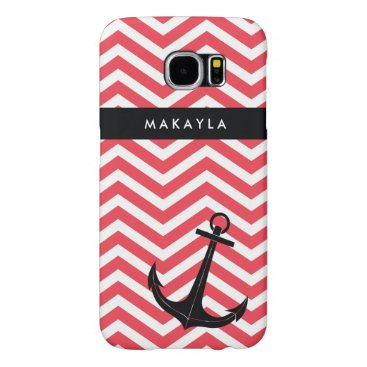 Personalized Pink Chevron with Black Anchor Samsung Galaxy S6 Case