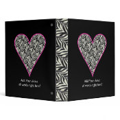 Personalized Pink Trimmed Zebra Heart Binder