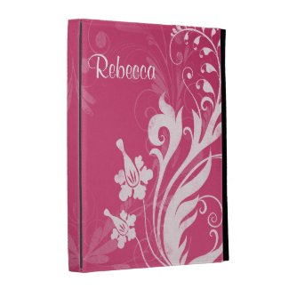 Personalized Pink White Floral iPad Folio Case