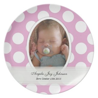 Personalized: Polka Dot Birth Plate plate