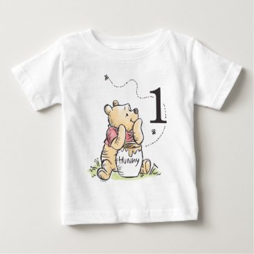 Personalized Pooh Watercolor First Birthday Baby T-Shirt
