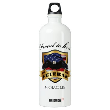 """Personalized """"proud to be a Veteran"""" Water Bottle"""