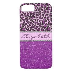 Personalized Purple Leopard Print Glitter iPhone 7 Case