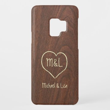 Personalized Red Wood Texture with Heart Case-Mate Samsung Galaxy S9 Case