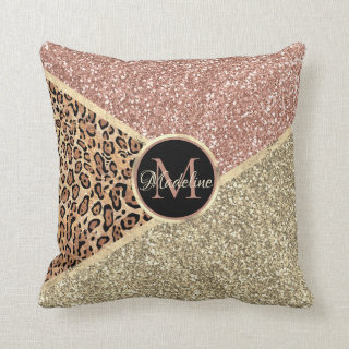 Personalized Rose Gold Blush Glitter Leopard Throw Pillow