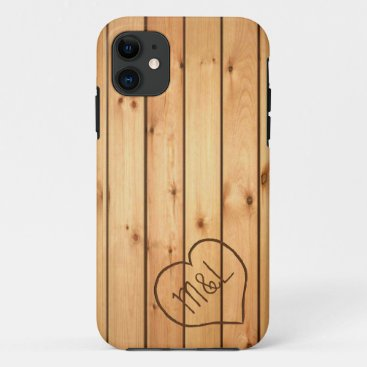 Personalized Sauna Wood Panels w/ Heart & Initials iPhone 11 Case