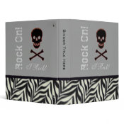 Personalized Skull and Crossbone Binder Zebra Trim