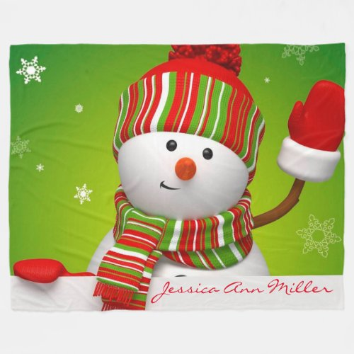 Personalized Snowman Fleece Blanket