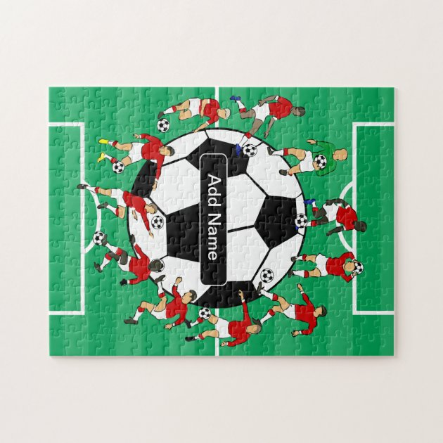 Personalized Soccer Ball And Players Jigsaw Puzzle Zazzle
