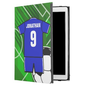 """Personalized Soccer Jersey Blue with White iPad Pro 12.9"""" Case"""