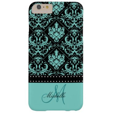 Personalized Teal Blue & Black Damask Barely There iPhone 6 Plus Case