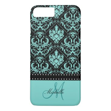 Personalized Teal Blue & Black Damask iPhone 7 Plus Case