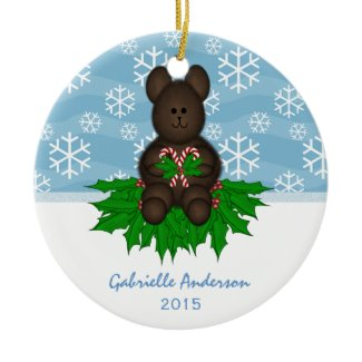 Personalized: Teddy-bear: Christmas Ornament