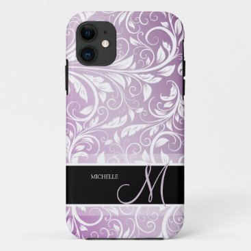 Personalized Thistle Purple & White Floral Damask iPhone 11 Case