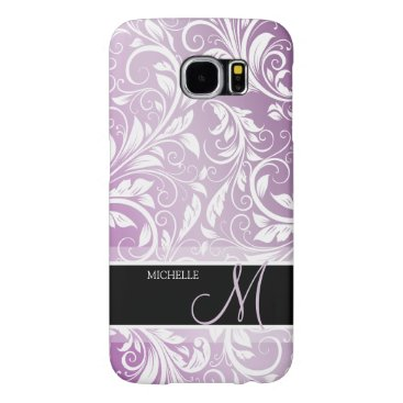 Personalized Thistle Purple & White Floral Damask Samsung Galaxy S6 Case