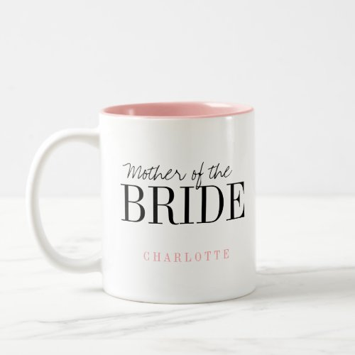 Personalized typography mother of the bride mug