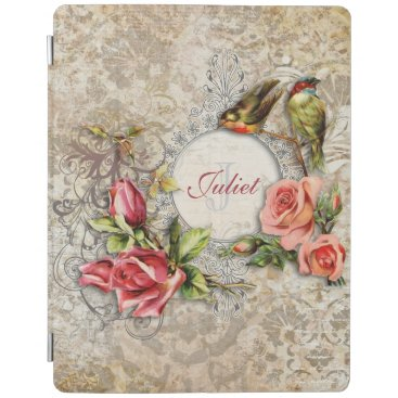 Personalized Vintage Damask Rose iPad Smart Cover