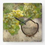 Personalized Wedding Anniversary Vineyard Decor Square Wallclocks