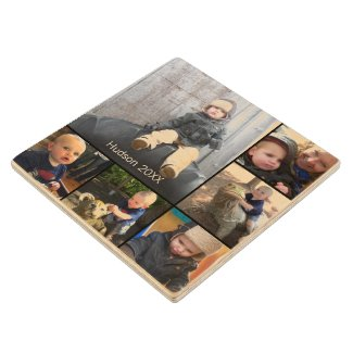 Personalized Your Baby Photo Collage Wood Coaster