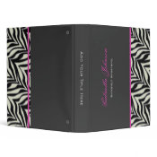Personalized: Zebra Pink Trimmed Binder