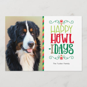 Pet Christmas Photo Card, Happy Howlidays Holiday Card