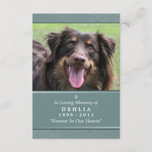 Pet Memorial Card 3.5x5 Teal - Contented Poem