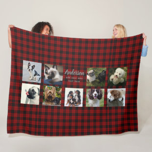 Pet Photo Collage Blanket - Buffalo Plaid - Memory
