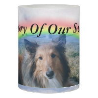 Pet Portrait At Rainbow Bridge Flameless Candle