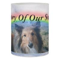 Pet Portrait At Rainbow Bridge Flameless Candle
