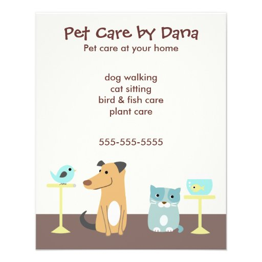 Pet Sitter's Advertising Custom Flyer | Zazzle