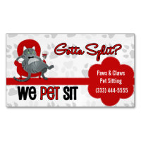 Pet Sitter's Custom Name Funny Gray Cat Business Card Magnet