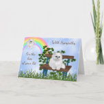 Sweet Cat On Bench At Rainbow Bridge Sympathy Card