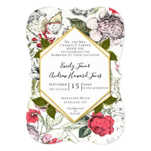 Petunias  Roses Fauna Greenery Wedding Invitation