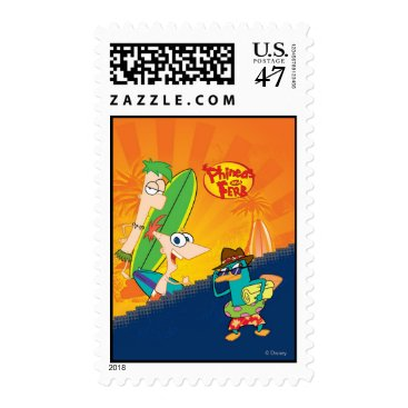Phineas, Ferb and Agent P Surf Postage