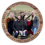 Photo Family Name Monogram Rustic Brown Wood  Large Clock