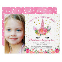 Photo Floral Faux Gold Unicorn Birthday Invitation