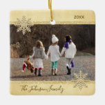 PHOTO Gold Snow Keepsake Christmas Holiday Tree Ceramic Ornament