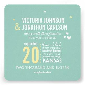 Photo Mint and Yellow Zig Zag Typography Wedding Custom Invitation