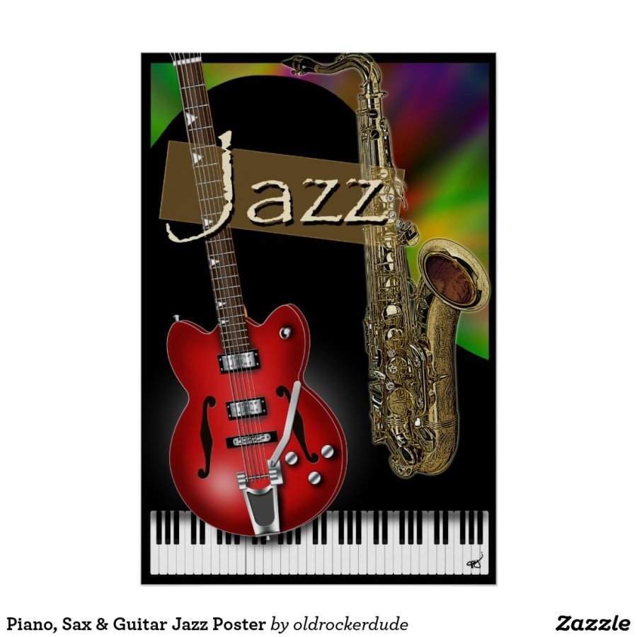 Piano, Sax & Guitar Jazz Poster