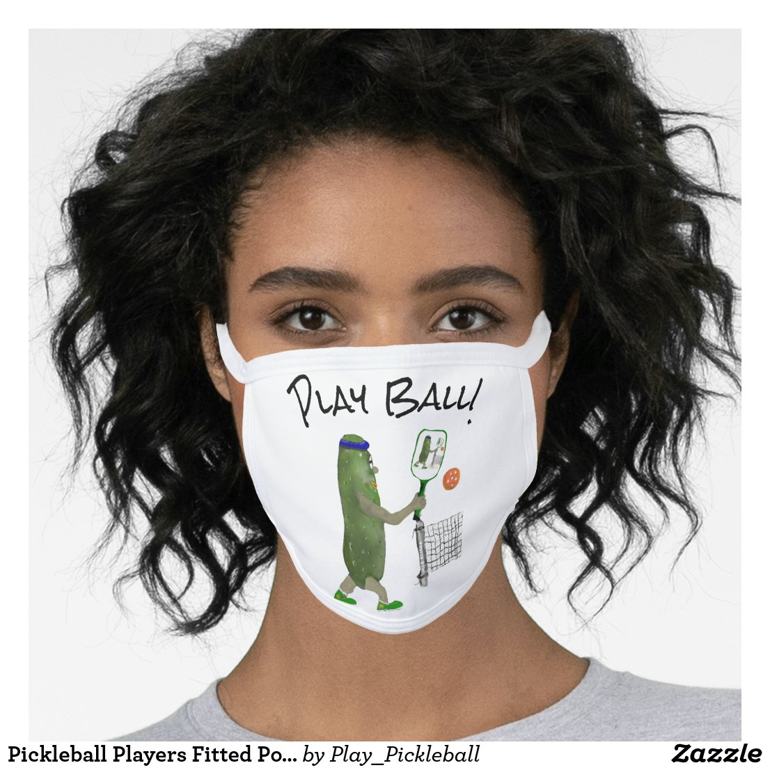 Pickleball Players Ball Fitted Face Mask