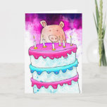 Colorful Pig With Cake Birthday Card