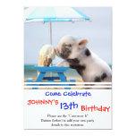 Pig eating ice cream on the beach invitation