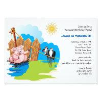 Pig in the Mud Barnyard Birthday Invitation