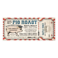 Pig Roast Graduation Invitations w/ Raffle Ticket