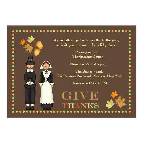 Pilgrim Couple Thanksgiving Invitation